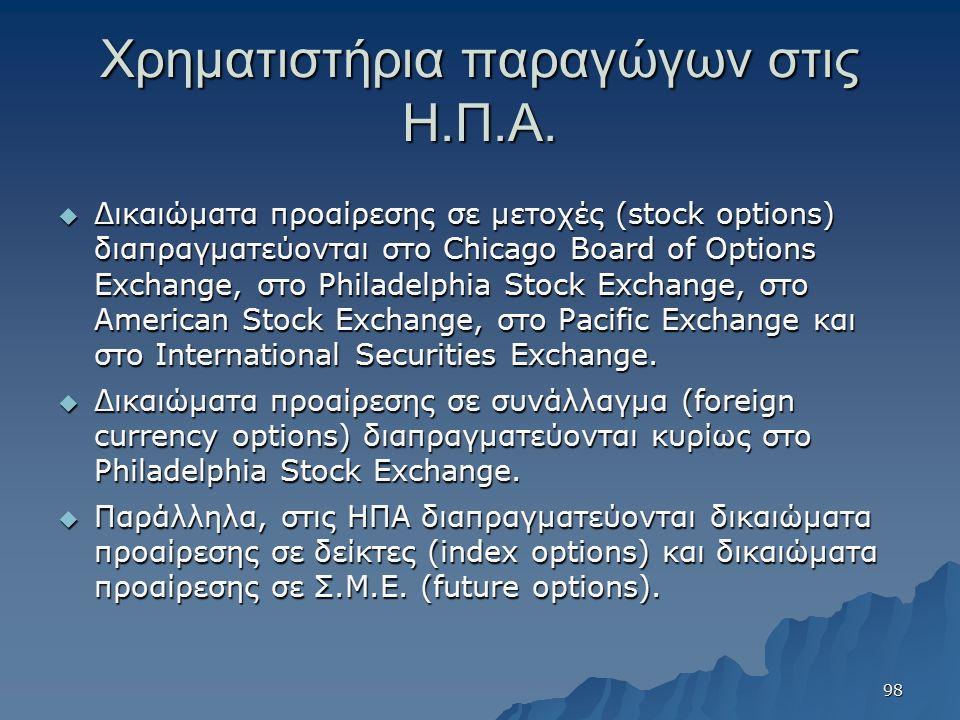 Χρηματιστήρια παραγώγων στις Η.Π.Α.  Δικαιώματα προαίρεσης σε μετοχές (stock options) διαπραγματεύονται στο Chicago Board of Options Exchange, στο Ph