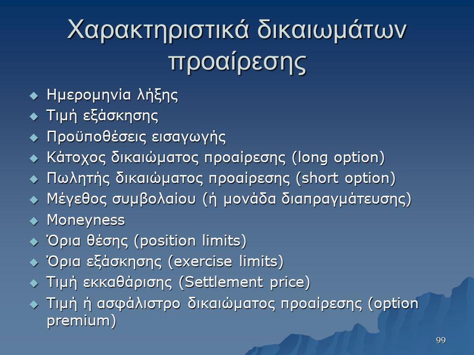 Χαρακτηριστικά δικαιωμάτων προαίρεσης  Ημερομηνία λήξης  Τιμή εξάσκησης  Προϋποθέσεις εισαγωγής  Κάτοχος δικαιώματος προαίρεσης (long option)  Πωλητής δικαιώματος προαίρεσης (short option)  Μέγεθος συμβολαίου (ή μονάδα διαπραγμάτευσης)  Moneyness  Όρια θέσης (position limits)  Όρια εξάσκησης (exercise limits)  Τιμή εκκαθάρισης (Settlement price)  Τιμή ή ασφάλιστρο δικαιώματος προαίρεσης (option premium) 99