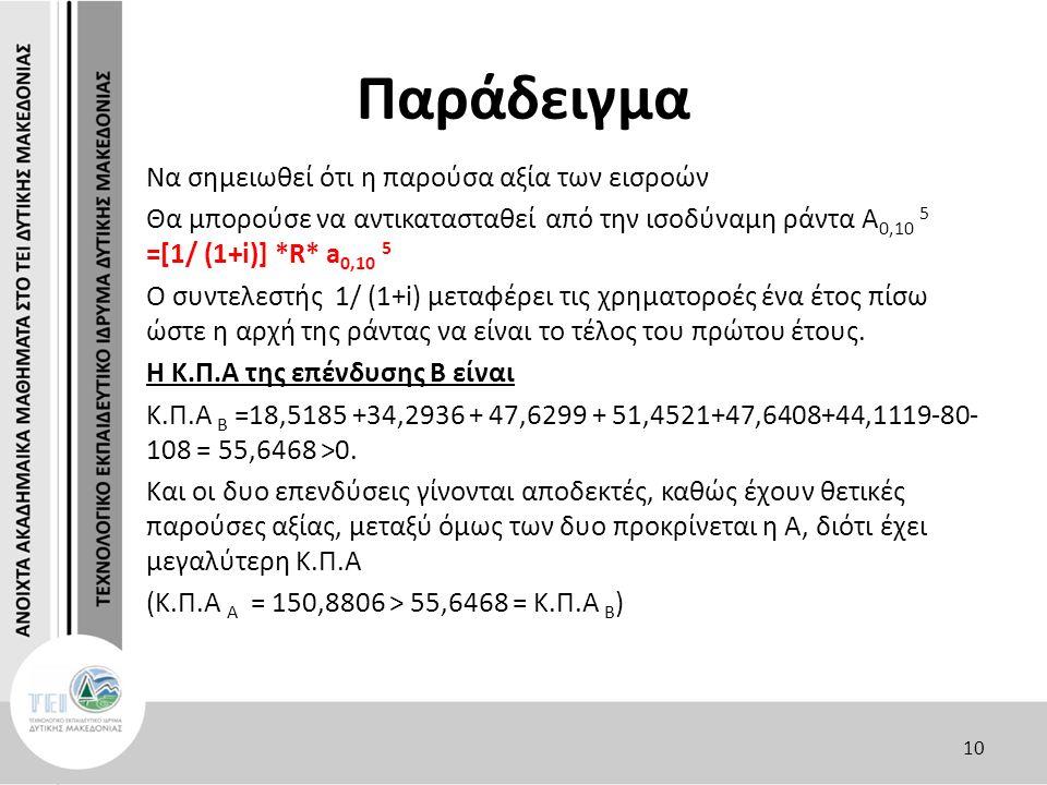 Παράδειγμα Nα σημειωθεί ότι η παρούσα αξία των εισροών Θα μπορούσε να αντικατασταθεί από την ισοδύναμη ράντα Α 0,10 5 =[1/ (1+i)] *R* a 0,10 5 Ο συντε
