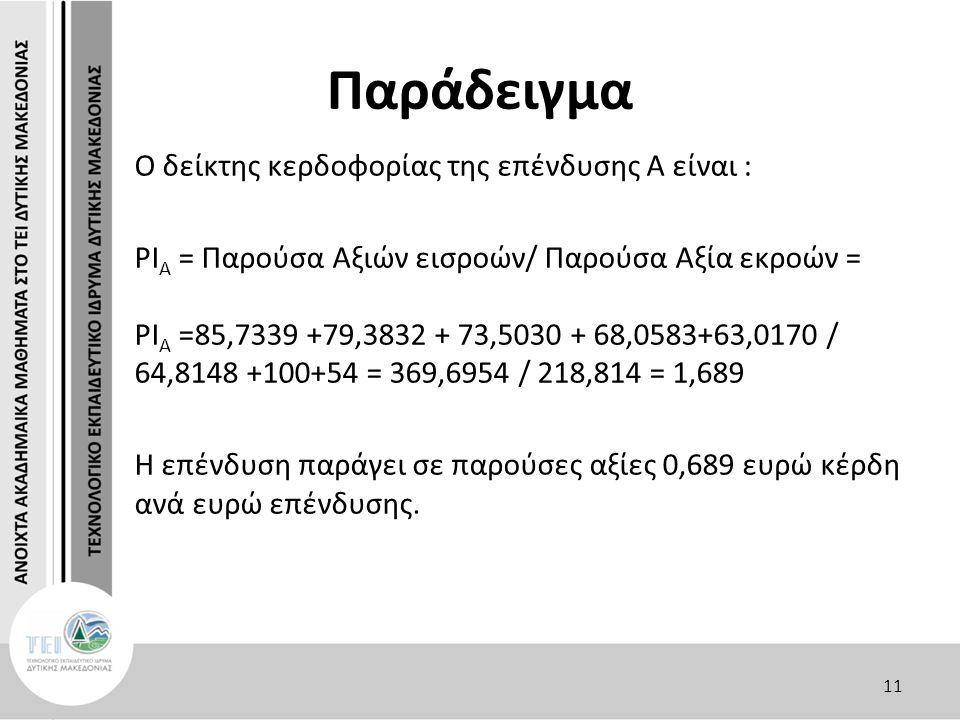 Παράδειγμα O δείκτης κερδοφορίας της επένδυσης Α είναι : PΙ Α = Παρούσα Αξιών εισροών/ Παρούσα Αξία εκροών = PΙ Α =85,7339 +79,3832 + 73,5030 + 68,0583+63,0170 / 64,8148 +100+54 = 369,6954 / 218,814 = 1,689 Η επένδυση παράγει σε παρούσες αξίες 0,689 ευρώ κέρδη ανά ευρώ επένδυσης.
