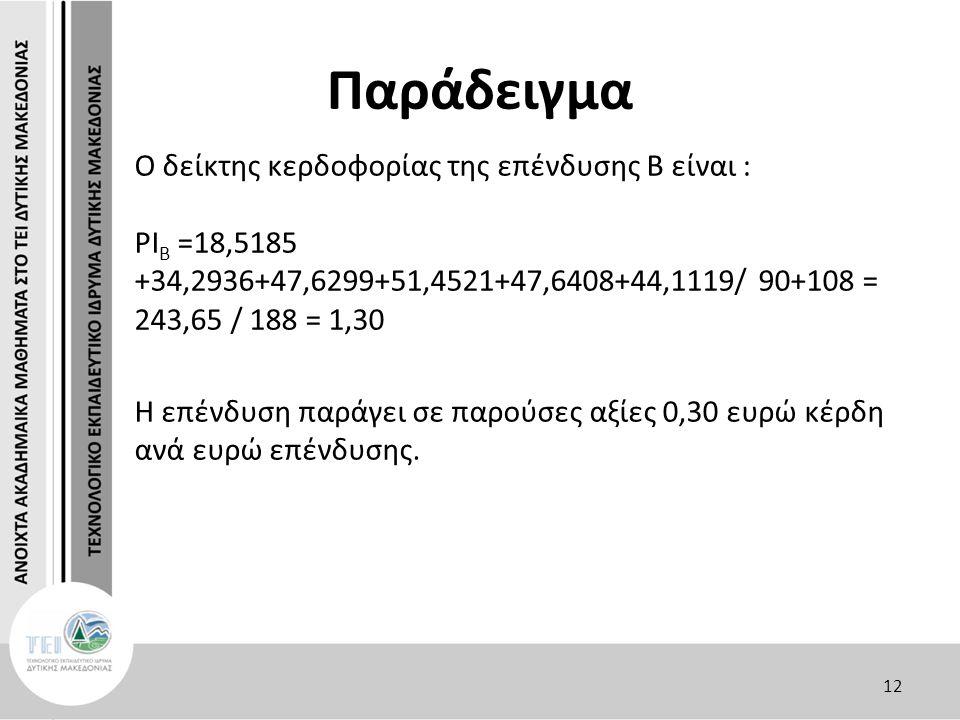 Παράδειγμα O δείκτης κερδοφορίας της επένδυσης Β είναι : PΙ Β =18,5185 +34,2936+47,6299+51,4521+47,6408+44,1119/ 90+108 = 243,65 / 188 = 1,30 Η επένδυση παράγει σε παρούσες αξίες 0,30 ευρώ κέρδη ανά ευρώ επένδυσης.
