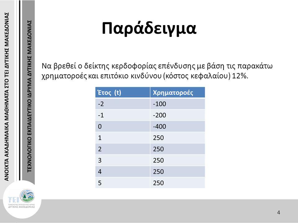 Παράδειγμα Να βρεθεί ο δείκτης κερδοφορίας επένδυσης με βάση τις παρακάτω χρηματοροές και επιτόκιο κινδύνου (κόστος κεφαλαίου) 12%.