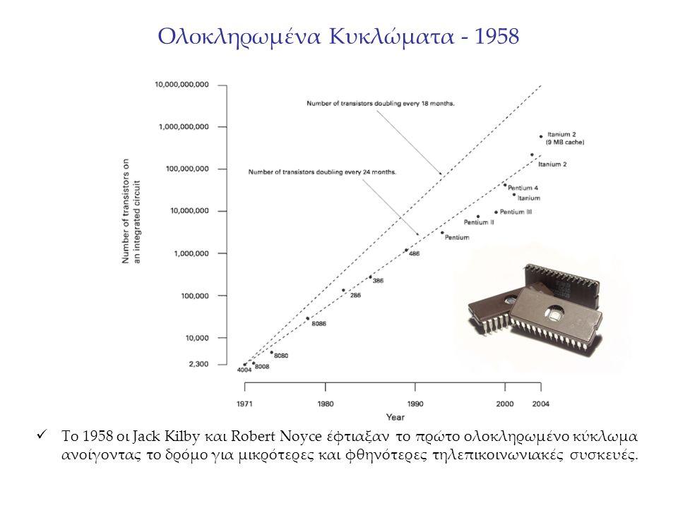 Ολοκληρωμένα Κυκλώματα - 1958 Το 1958 οι Jack Kilby και Robert Noyce έφτιαξαν το πρώτο ολοκληρωμένο κύκλωμα ανοίγοντας το δρόμο για μικρότερες και φθηνότερες τηλεπικοινωνιακές συσκευές.