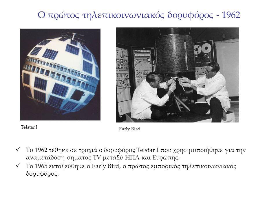 Ο πρώτος τηλεπικοινωνιακός δορυφόρος - 1962 To 1962 τέθηκε σε τροχιά ο δορυφόρος Telstar I που χρησιμοποιήθηκε για την αναμετάδοση σήματος TV μεταξύ ΗΠΑ και Ευρώπης.