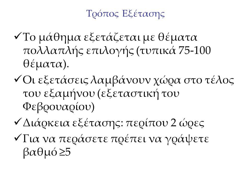 Τρόπος Εξέτασης Το μάθημα εξετάζεται με θέματα πολλαπλής επιλογής (τυπικά 75-100 θέματα).