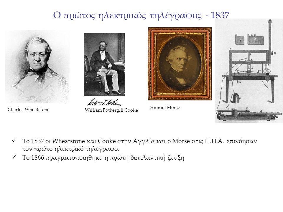 Ο πρώτος ηλεκτρικός τηλέγραφος - 1837 To 1837 οι Wheatstone και Cooke στην Αγγλία και ο Morse στις Η.Π.Α.