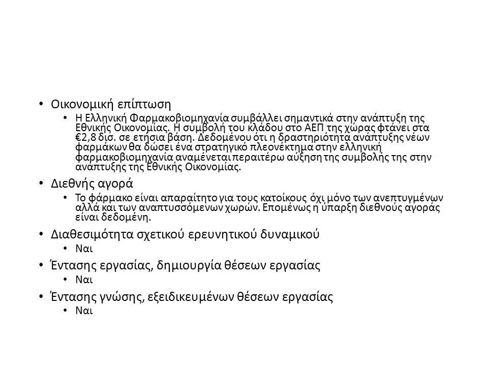 Οικονομική επίπτωση Η Ελληνική Φαρμακοβιομηχανία συμβάλλει σημαντικά στην ανάπτυξη της Εθνικής Οικονομίας.