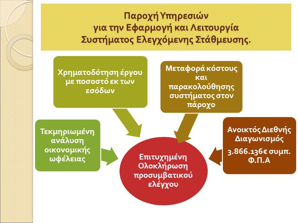 Ε π ιτυχημένη Ολοκλήρωση π ροσυμβατικού ελέγχου Τεκμηριωμένη ανάλυση οικονομικής ωφέλειας Χρηματοδότηση έργου με ποσοστό εκ των εσόδων Μεταφορά κόστους και π αρακολούθησης συστήματος στον π άροχο Ανοικτός Διεθνής Διαγωνισμός 3.866.136€ συμ π.