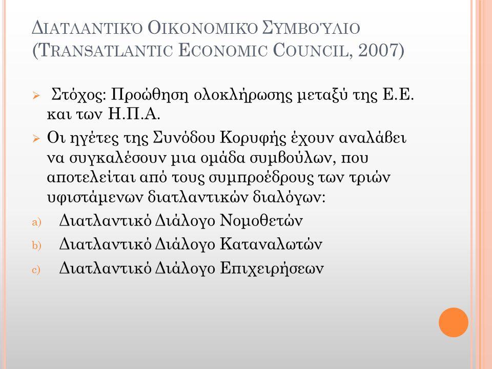 Δ ΙΑΤΛΑΝΤΙΚΌ Ο ΙΚΟΝΟΜΙΚΌ Σ ΥΜΒΟΎΛΙΟ (T RANSATLANTIC E CONOMIC C OUNCIL, 2007)  Στόχος: Προώθηση ολοκλήρωσης μεταξύ της Ε.Ε. και των Η.Π.Α.  Οι ηγέτε