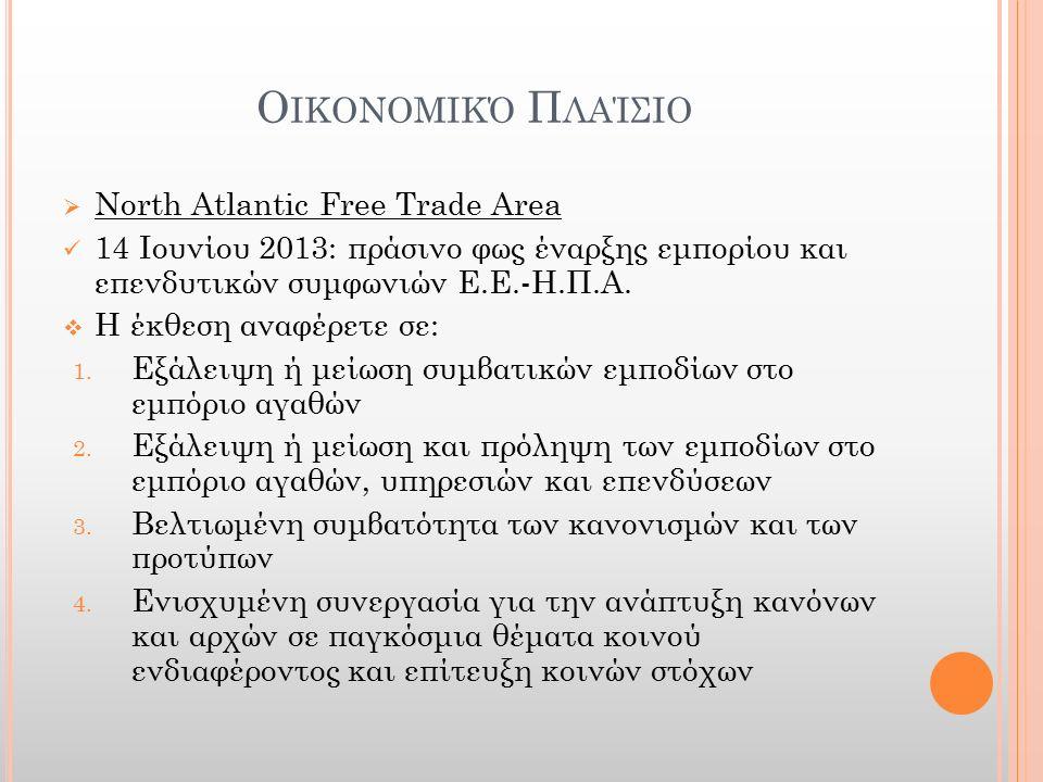 Ο ΙΚΟΝΟΜΙΚΌ Π ΛΑΊΣΙΟ  North Atlantic Free Trade Area 14 Ιουνίου 2013: πράσινο φως έναρξης εμπορίου και επενδυτικών συμφωνιών Ε.Ε.-Η.Π.Α.