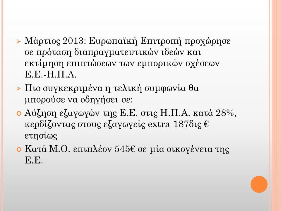  Μάρτιος 2013: Ευρωπαϊκή Επιτροπή προχώρησε σε πρόταση διαπραγματευτικών ιδεών και εκτίμηση επιπτώσεων των εμπορικών σχέσεων Ε.Ε.-Η.Π.Α.  Πιο συγκεκ