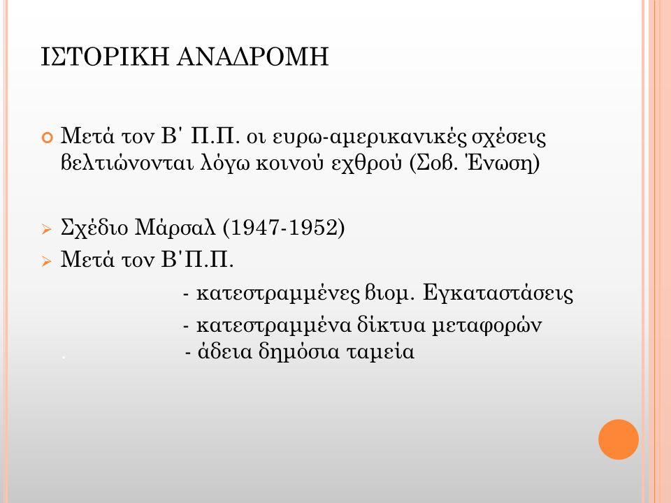 ΙΣΤΟΡΙΚΗ ΑΝΑΔΡΟΜΗ Μετά τον Β΄ Π.Π. οι ευρω-αμερικανικές σχέσεις βελτιώνονται λόγω κοινού εχθρού (Σοβ. Ένωση)  Σχέδιο Μάρσαλ (1947-1952)  Μετά τον Β΄