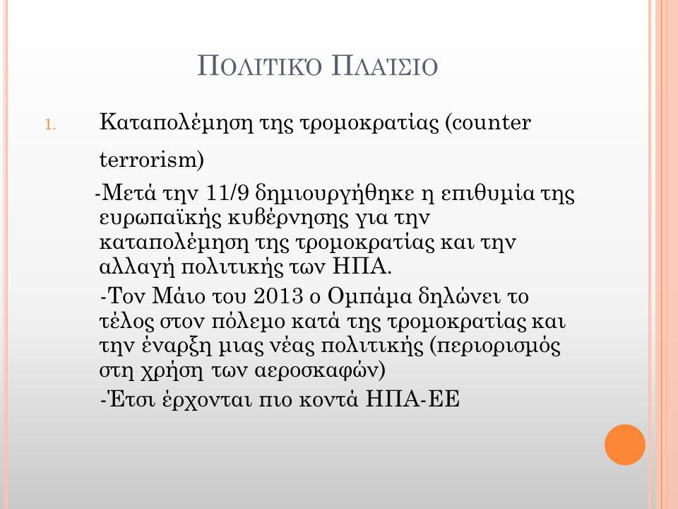 Π ΟΛΙΤΙΚΌ Π ΛΑΊΣΙΟ 1. Καταπολέμηση της τρομοκρατίας (counter terrorism) -Μετά την 11/9 δημιουργήθηκε η επιθυμία της ευρωπαϊκής κυβέρνησης για την κατα