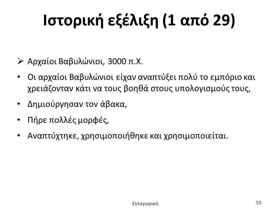 Ιστορική εξέλιξη (1 από 29)  Αρχαίοι Βαβυλώνιοι, 3000 π.Χ.
