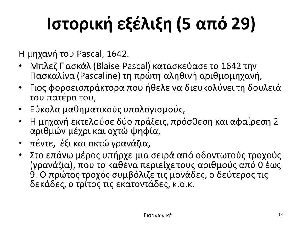 Ιστορική εξέλιξη (5 από 29) Η μηχανή του Pascal, 1642.