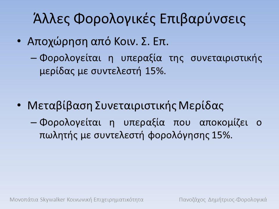 Άλλες Φορολογικές Επιβαρύνσεις Αποχώρηση από Κοιν. Σ. Επ. – Φορολογείται η υπεραξία της συνεταιριστικής μερίδας με συντελεστή 15%. Μεταβίβαση Συνεταιρ