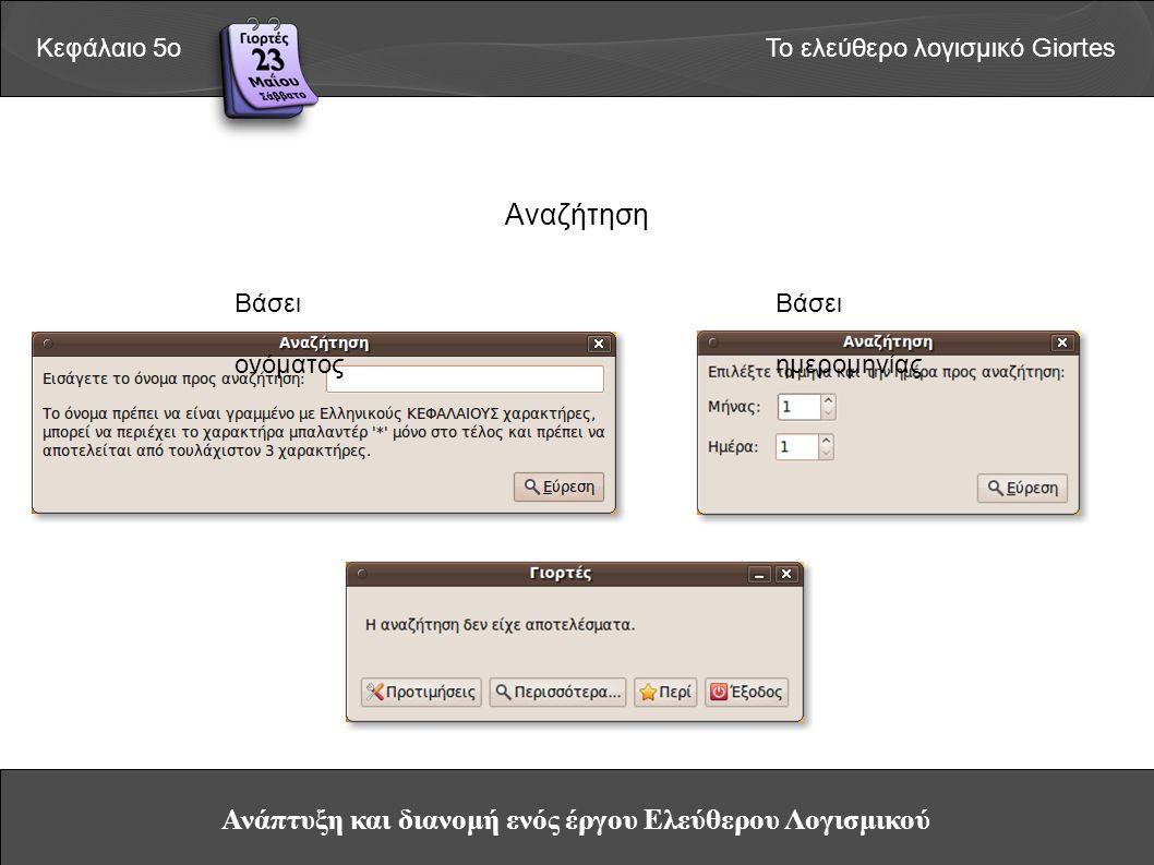 Ανάπτυξη και διανομή ενός έργου Ελεύθερου Λογισμικού Κεφάλαιο 5οΤο ελεύθερο λογισμικό Giortes Αναζήτηση Βάσει ονόματος Βάσει ημερομηνίας