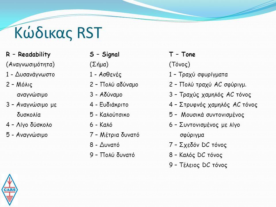 Κώδικας RST R – Readability (Αναγνωσιμότητα) 1 - Δυσανάγνωστο 2 – Μόλις αναγνώσιμο 3 – Αναγνώσιμο με δυσκολία 4 – Λίγο δύσκολο 5 - Αναγνώσιμο S – Signal (Σήμα) 1 - Ασθενές 2 – Πολύ αδύναμο 3 - Αδύναμο 4 - Ευδιάκριτο 5 - Καλούτσικο 6 - Καλό 7 – Μέτρια δυνατό 8 - Δυνατό 9 – Πολύ δυνατό Τ – Tone (Τόνος) 1 – Τραχύ σφυρίγματα 2 – Πολύ τραχύ AC σφύριγμ.