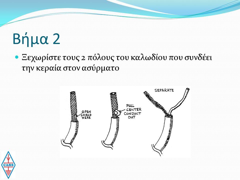 Βήμα 2 Ξεχωρίστε τους 2 πόλους του καλωδίου που συνδέει την κεραία στον ασύρματο