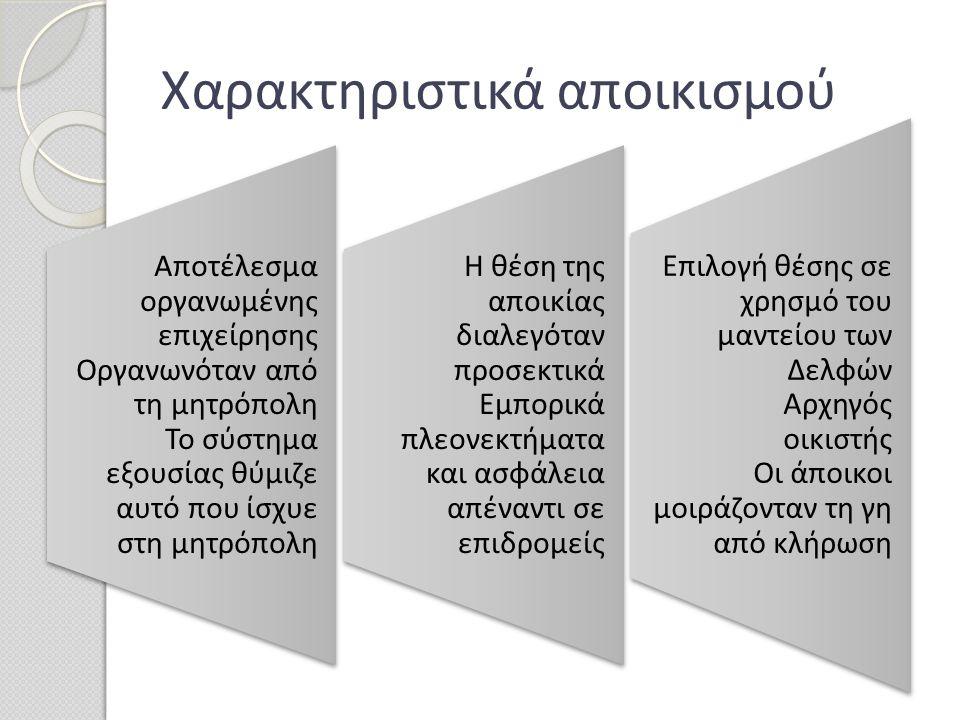 Χαρακτηριστικά αποικισμού Αποτέλεσμα οργανωμένης επιχείρησης Οργανωνόταν από τη μητρόπολη Το σύστημα εξουσίας θύμιζε αυτό που ίσχυε στη μητρόπολη Αποτ