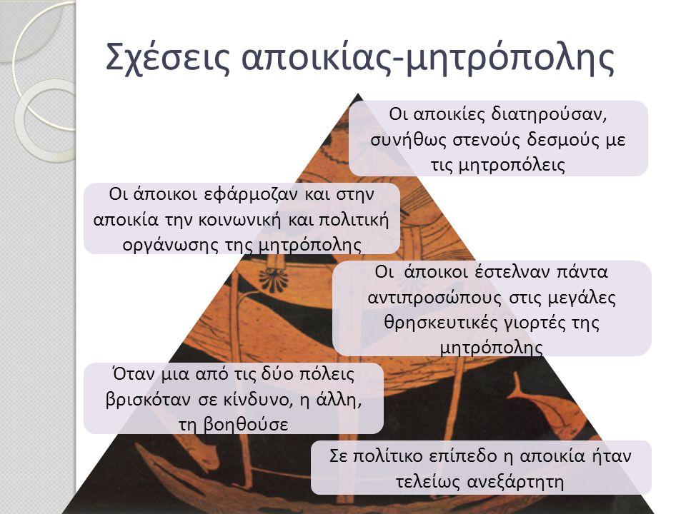 Η ίδρυση ελληνικών αποικιών σε όλη τη Μεσόγειο δημιούργησε ένα τεράστιο δίκτυο εμπορικών ανταλλαγών και θεαματική ανάπτυξη του εμπορίου.
