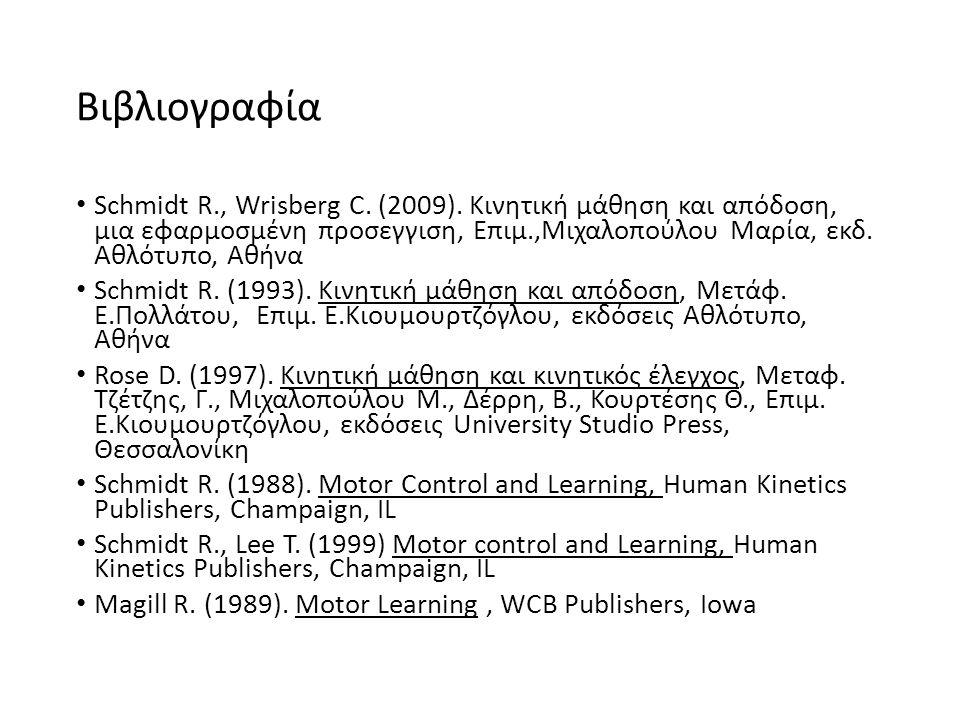 Βιβλιογραφία Schmidt R., Wrisberg C. (2009).