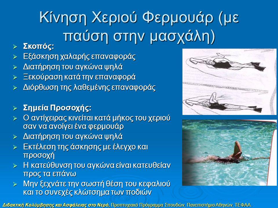Διδακτική Κολύμβησης και Ασφάλειας στο Νερό, Προπτυχιακό Πρόγραμμα Σπουδών, Πανεπιστήμιο Αθηνών, ΤΕΦΑΑ. Κίνηση Χεριού Φερμουάρ (με παύση στην μασχάλη)