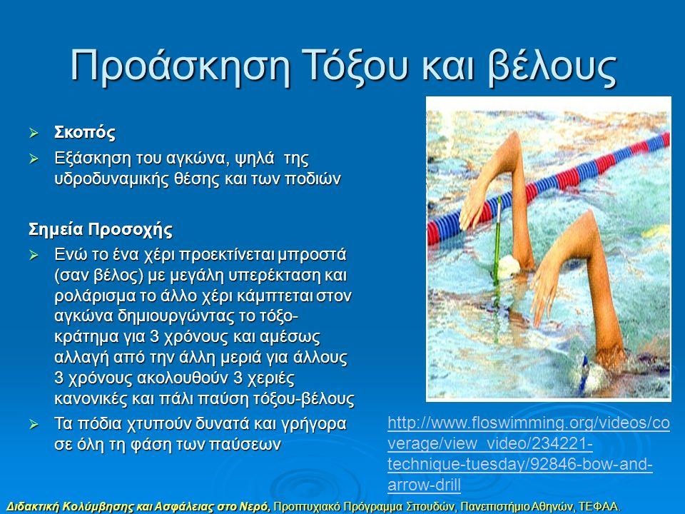 Διδακτική Κολύμβησης και Ασφάλειας στο Νερό, Προπτυχιακό Πρόγραμμα Σπουδών, Πανεπιστήμιο Αθηνών, ΤΕΦΑΑ. Προάσκηση Τόξου και βέλους  Σκοπός  Εξάσκηση