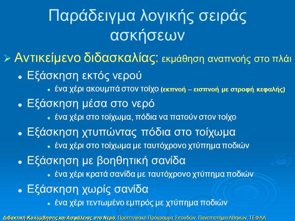 Διδακτική Κολύμβησης και Ασφάλειας στο Νερό, Προπτυχιακό Πρόγραμμα Σπουδών, Πανεπιστήμιο Αθηνών, ΤΕΦΑΑ. Παράδειγμα λογικής σειράς ασκήσεων  Αντικείμε