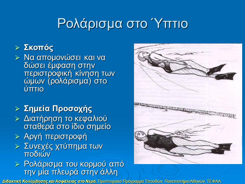 Διδακτική Κολύμβησης και Ασφάλειας στο Νερό, Προπτυχιακό Πρόγραμμα Σπουδών, Πανεπιστήμιο Αθηνών, ΤΕΦΑΑ. Ρολάρισμα στο Ύπτιο  Σκοπός  Να απομονώσει κ