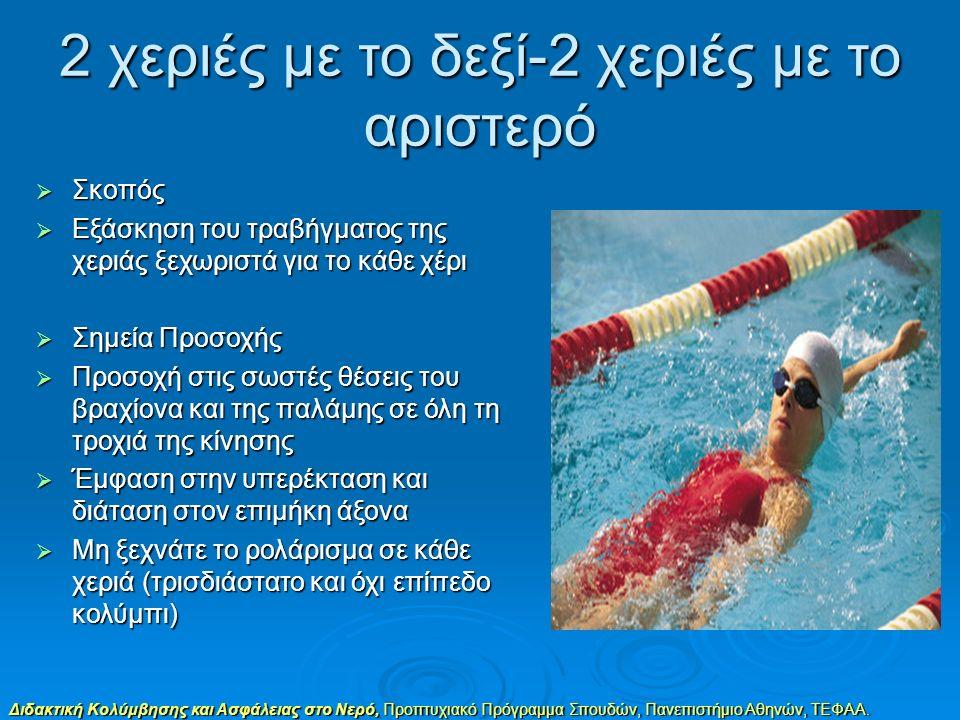 Διδακτική Κολύμβησης και Ασφάλειας στο Νερό, Προπτυχιακό Πρόγραμμα Σπουδών, Πανεπιστήμιο Αθηνών, ΤΕΦΑΑ. 2 χεριές με το δεξί-2 χεριές με το αριστερό 