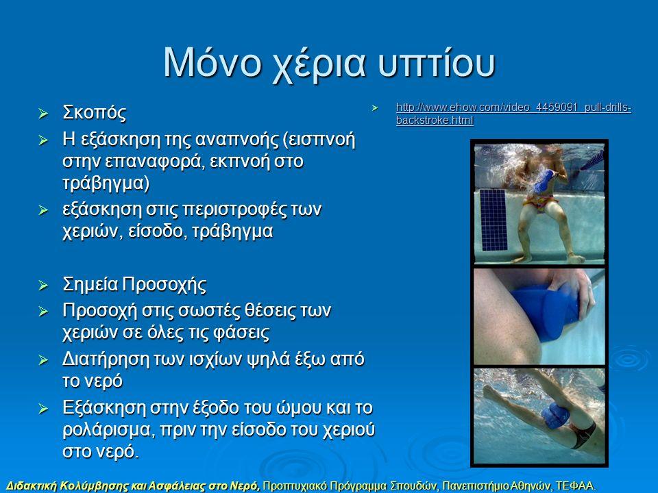 Διδακτική Κολύμβησης και Ασφάλειας στο Νερό, Προπτυχιακό Πρόγραμμα Σπουδών, Πανεπιστήμιο Αθηνών, ΤΕΦΑΑ. Μόνο χέρια υπτίου  Σκοπός  Η εξάσκηση της αν