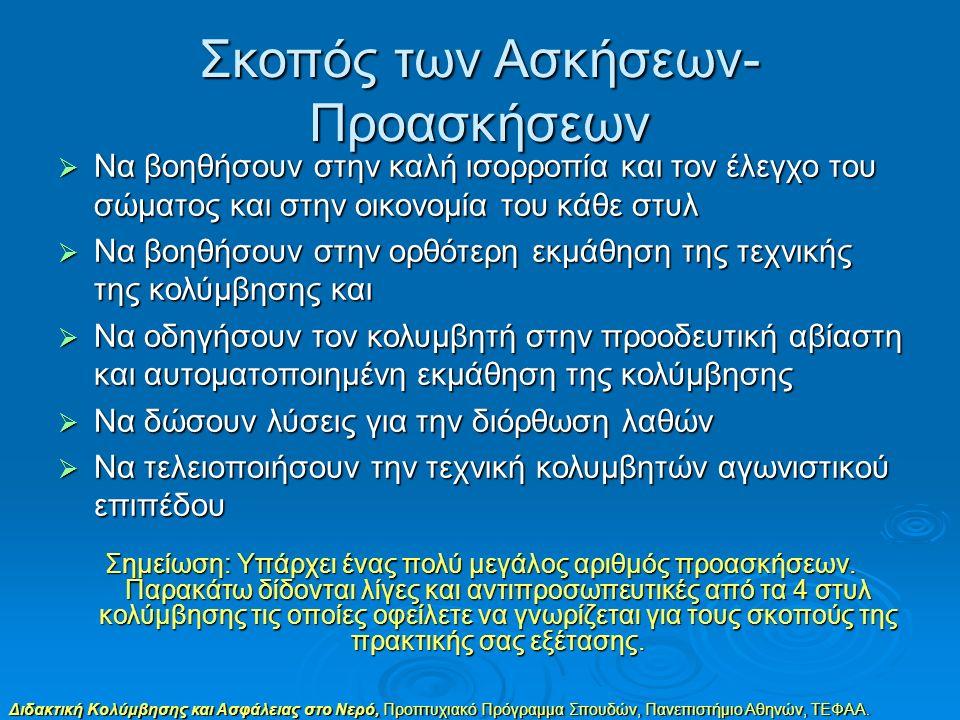 Διδακτική Κολύμβησης και Ασφάλειας στο Νερό, Προπτυχιακό Πρόγραμμα Σπουδών, Πανεπιστήμιο Αθηνών, ΤΕΦΑΑ. Σκοπός των Ασκήσεων- Προασκήσεων  Να βοηθήσου