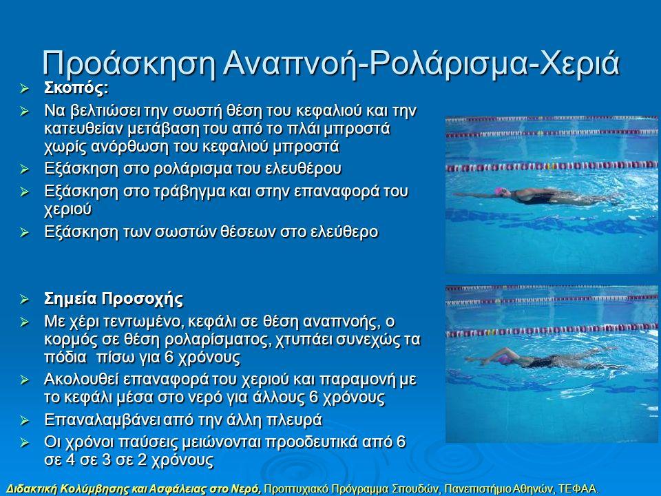 Διδακτική Κολύμβησης και Ασφάλειας στο Νερό, Προπτυχιακό Πρόγραμμα Σπουδών, Πανεπιστήμιο Αθηνών, ΤΕΦΑΑ. Προάσκηση Αναπνοή-Ρολάρισμα-Χεριά  Σκοπός: 