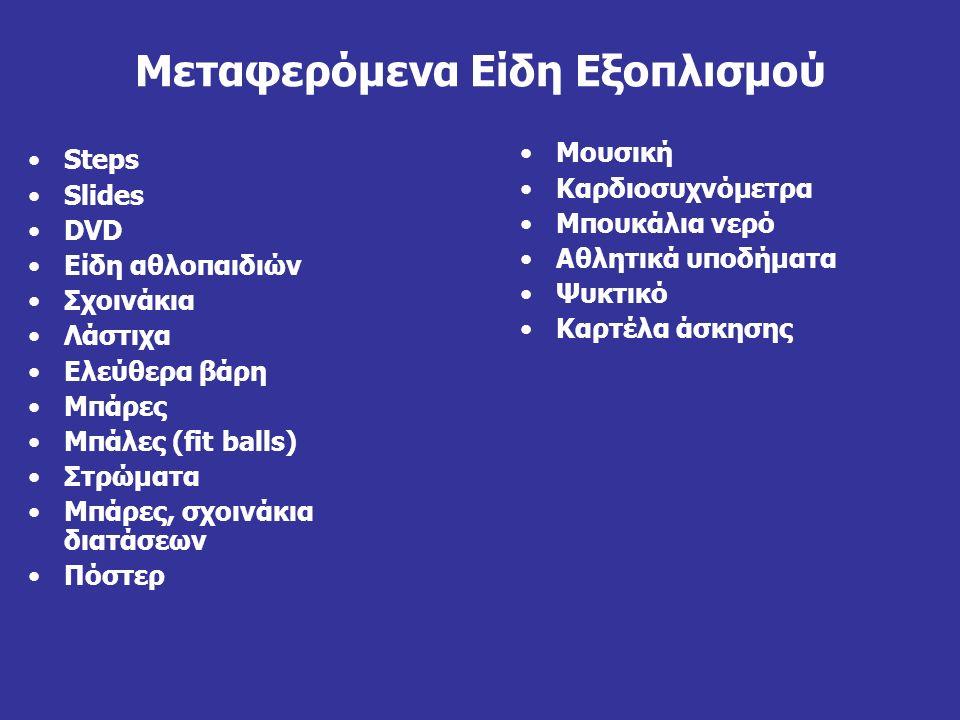 Μεταφερόμενα Είδη Εξοπλισμού Steps Slides DVD Είδη αθλοπαιδιών Σχοινάκια Λάστιχα Ελεύθερα βάρη Μπάρες Μπάλες (fit balls) Στρώματα Μπάρες, σχοινάκια δι