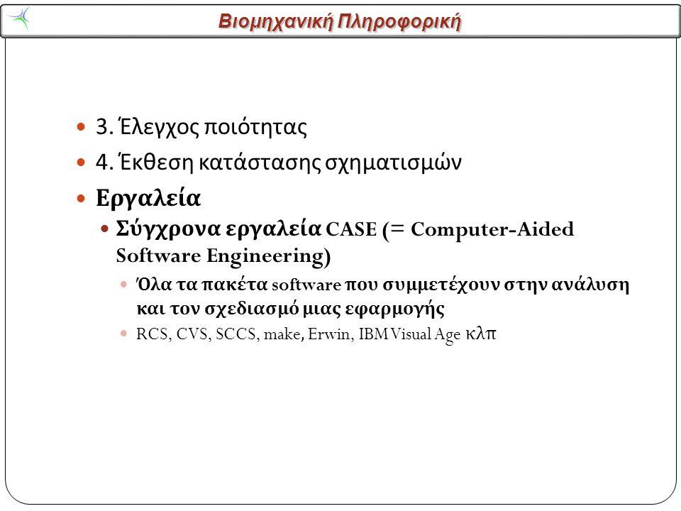 Βιομηχανική Πληροφορική 3. Έλεγχος ποιότητας 4. Έκθεση κατάστασης σχηματισμών Εργαλεία Σύγχρονα εργαλεία CASE (= Computer-Aided Software Engineering)