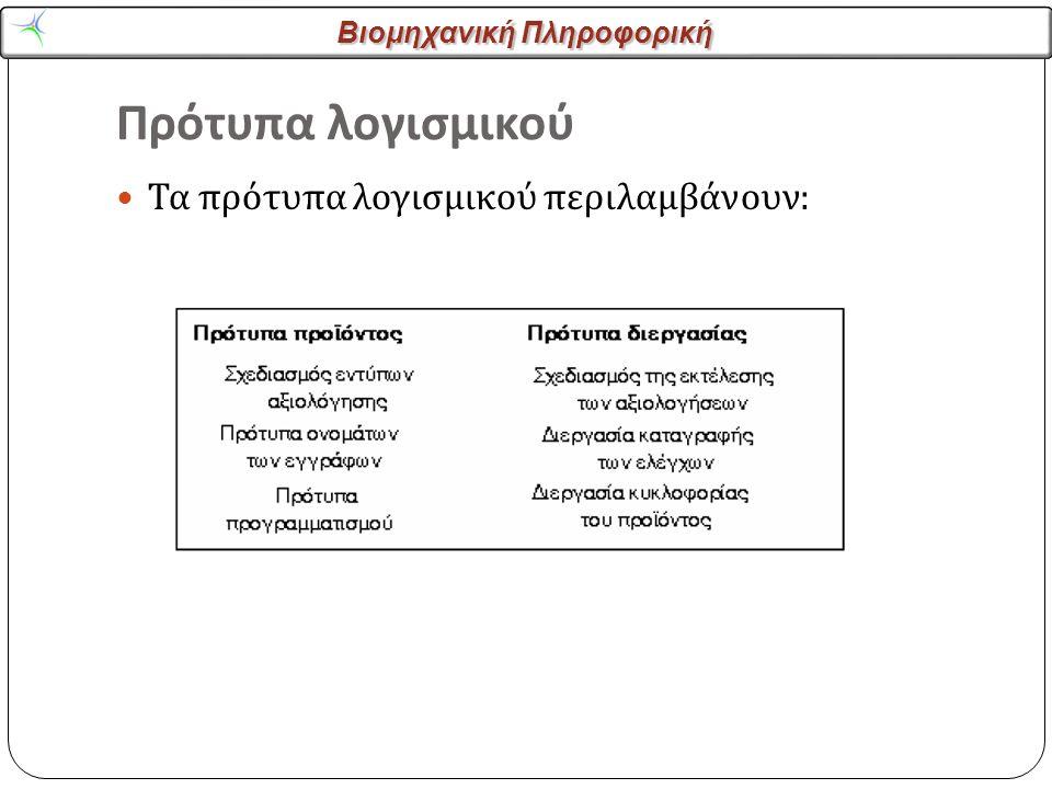 Βιομηχανική Πληροφορική Πρότυπα λογισμικού Τα πρότυπα λογισμικού περιλαμβάνουν :