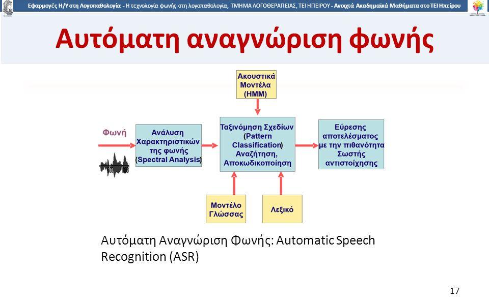 1717 Εφαρμογές Η/Υ στη Λογοπαθολογία - Η τεχνολογία φωνής στη λογοπαθολογία, ΤΜΗΜΑ ΛΟΓΟΘΕΡΑΠΕΙΑΣ, ΤΕΙ ΗΠΕΙΡΟΥ - Ανοιχτά Ακαδημαϊκά Μαθήματα στο ΤΕΙ Ηπείρου Αυτόματη Αναγνώριση Φωνής: Automatic Speech Recognition (ASR) 17 Αυτόματη αναγνώριση φωνής