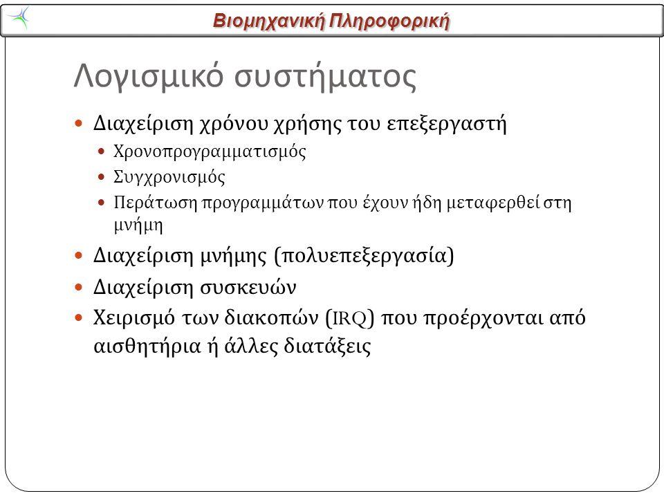 Βιομηχανική Πληροφορική Λογισμικό συστήματος Διαχείριση χρόνου χρήσης του επεξεργαστή Χρονοπρογραμματισμός Συγχρονισμός Περάτωση προγραμμάτων που έχουν ήδη μεταφερθεί στη μνήμη Διαχείριση μνήμης ( πολυεπεξεργασία ) Διαχείριση συσκευών Χειρισμό των διακοπών (IRQ) που προέρχονται από αισθητήρια ή άλλες διατάξεις