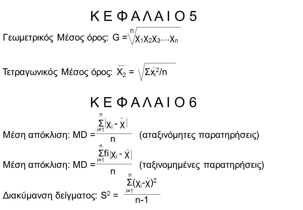 Κ Ε Φ Α Λ Α Ι Ο 5 Γεωμετρικός Μέσος όρος: G = χ 1 χ 2 χ 3 …χ n n Τετραγωνικός Μέσος όρος: Χ 2 = Σx i 2 /n Κ Ε Φ Α Λ Α Ι Ο 6 Σ χ i - χ Μέση απόκλιση: MD = (αταξινόμητες παρατηρήσεις) n n-1 Διακύμανση δείγματος: S 2 = i=1 n Σ(χ i -χ) 2 i=1 n Σfi χ i - χ Μέση απόκλιση: MD = (ταξινομημένες παρατηρήσεις) n i=1 n