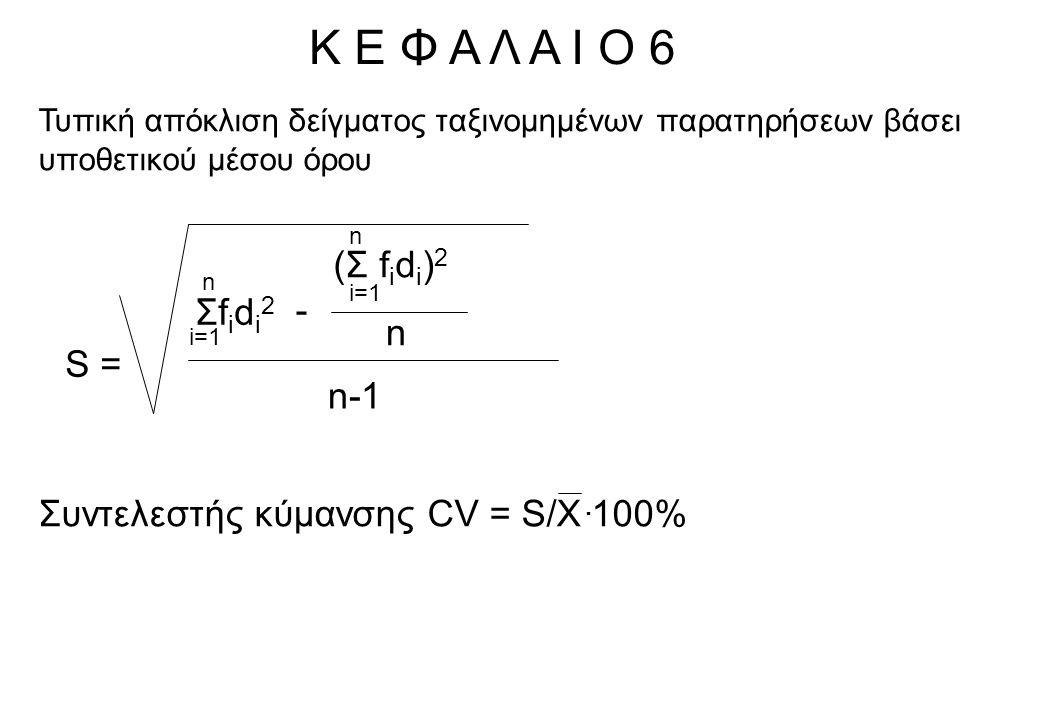 Κ Ε Φ Α Λ Α Ι Ο 6 Τυπική απόκλιση δείγματος ταξινομημένων παρατηρήσεων βάσει υποθετικού μέσου όρου S = (Σ f i d i ) 2 n i=1 n Σfidi2Σfidi2 n - n-1 Συντελεστής κύμανσης CV = S/X 100%.