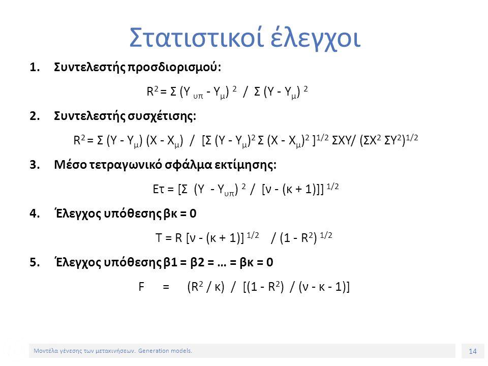 14 Μοντέλα γένεσης των μετακινήσεων. Generation models. Στατιστικοί έλεγχοι 1.Συντελεστής προσδιορισμού: R 2 = Σ (Y υπ - Υ μ ) 2 / Σ (Υ - Υ μ ) 2 2.Συ