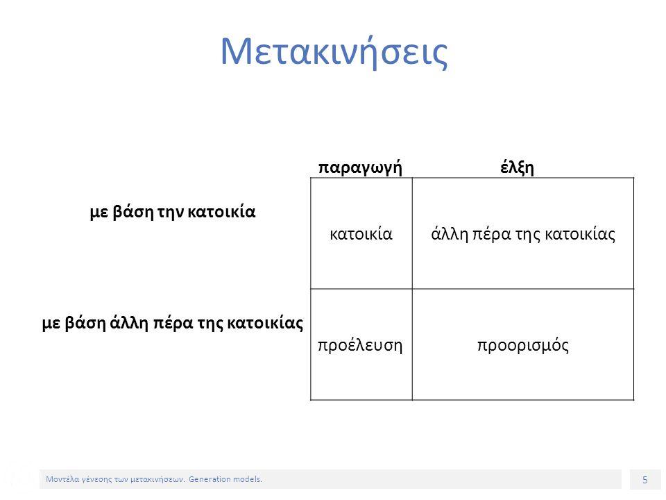 5 Μοντέλα γένεσης των μετακινήσεων. Generation models.