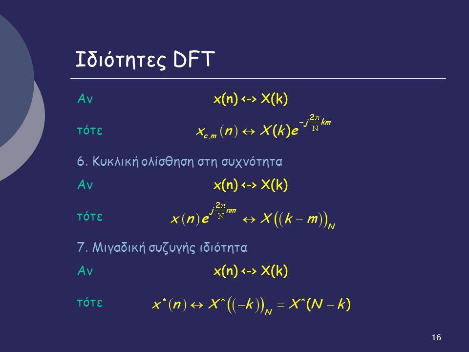 16 Ιδιότητες DFT Αν x(n) X(k) τότε 6. Κυκλική ολίσθηση στη συχνότητα Αν x(n) X(k) τότε 7.