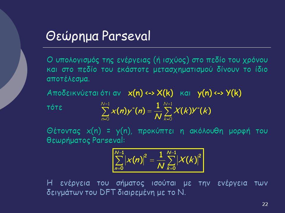 22 Θεώρημα Parseval Ο υπολογισμός της ενέργειας (ή ισχύος) στο πεδίο του χρόνου και στο πεδίο του εκάστοτε μετασχηματισμού δίνουν το ίδιο αποτέλεσμα.
