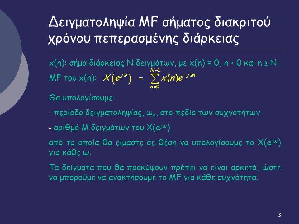 24 Σχέση κυκλικής και γραμμικής συνέλιξης Δειγματοληψία ΜF συνέλιξης X(e jω )Υ(e jω ): απόσταση δειγμάτων το πολύ 2π/(2Ν-1) Ν δείγματα Χ(k)Y(k): αντιστοιχούν σε συχνότητα δειγματοληψίας ω s = 2π/Ν -> υποδειγματοληψία (τα δείγματα έχουν μεταξύ τους απόσταση σχεδόν διπλάσια από τη μέγιστη που επιτρέπει το θεώρημα του Nyquist) -> απώλεια πληροφορίας Άρα αντίστροφος μετασχηματισμός -> όχι την αρχική ακολουθία της συνέλιξης, αλλά την κυκλική συνέλιξη Κυκλική συνέλιξη: αποτέλεσμα επικάλυψης περιοδικών επαναλήψεων (με περίοδο Ν) στο πεδίο του χρόνου της αρχικής ακολουθίας της γραμμικής συνέλιξης