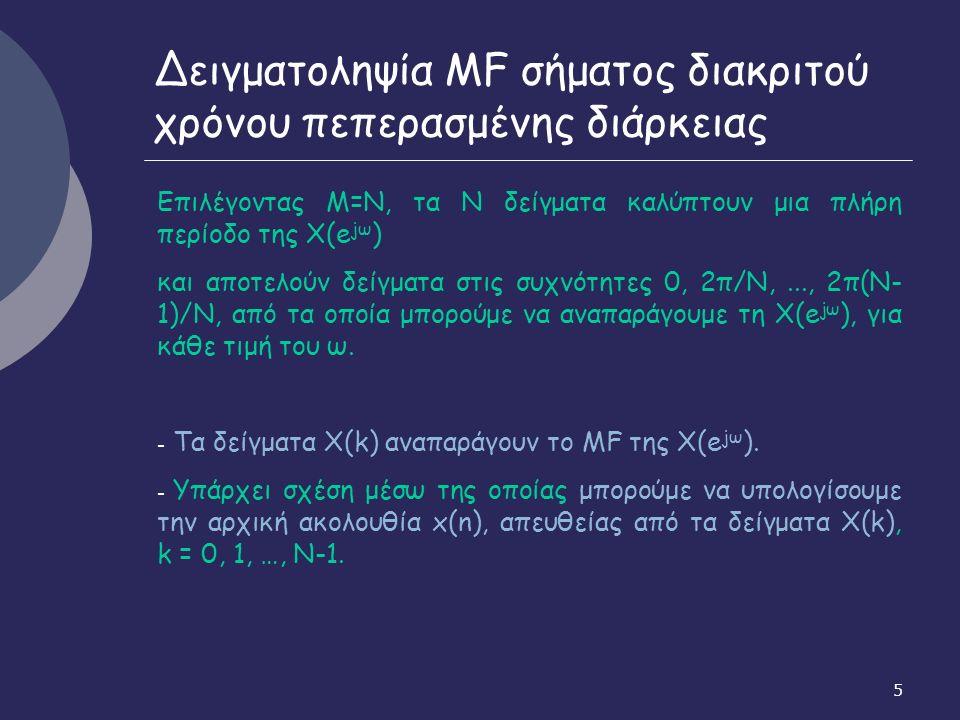 16 Ιδιότητες DFT Αν x(n) X(k) τότε 6.Κυκλική ολίσθηση στη συχνότητα Αν x(n) X(k) τότε 7.