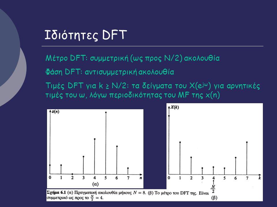 8 Ιδιότητες DFT Μέτρο DFT: συμμετρική (ως προς Ν/2) ακολουθία Φάση DFT: αντισυμμετρική ακολουθία Τιμές DFT για k ≥ N/2: τα δείγματα του Χ(e jω ) για αρνητικές τιμές του ω, λόγω περιοδικότητας του ΜF της x(n)