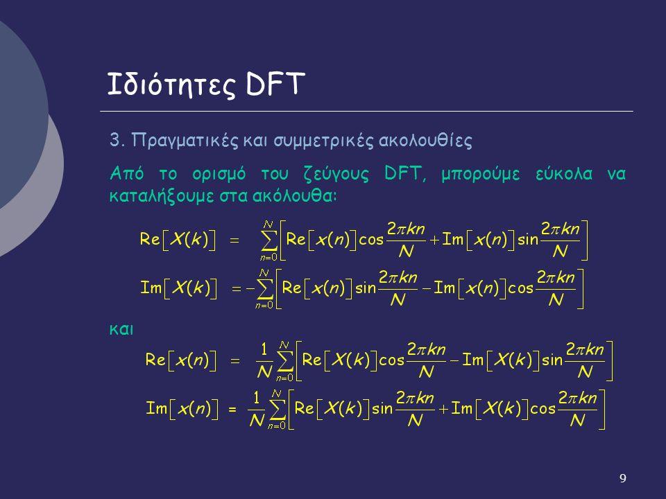 10 Ιδιότητες DFT Αν x(n): πραγματική και συμμετρική, x(n) = x(N-n), 0 < n ≤ N-1 και επειδή η s(n) = sin(2πkn/N) είναι αντισυμμετρική, s(n) = - s(N-n) προκύπτει από τις προηγούμενες σχέσεις: Im[X(k)] = 0 Άρα και ο DFT: πραγματική ακολουθία και αντιστοιχεί στο μετασχηματισμό συνημιτόνου