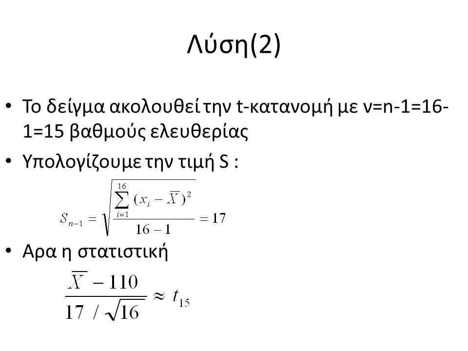 Λύση(2) Το δείγμα ακολουθεί την t-κατανομή με ν=n-1=16- 1=15 βαθμούς ελευθερίας Υπολογίζουμε την τιμή S : Αρα η στατιστική